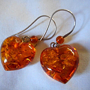 Sterling Silver Lucite Heart Earrings