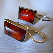Sterling Silver Amber Vintage Earrings