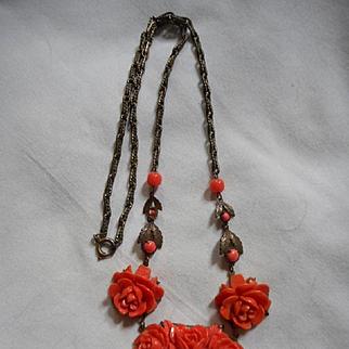 Celluloid  Vintage Red Floral Necklace