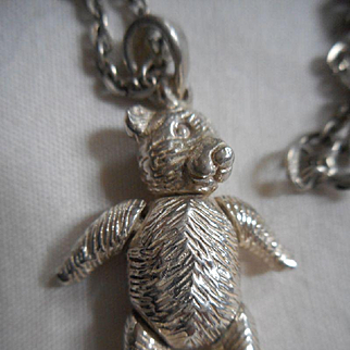 Sterling Silver Movable Teddy Bear Charm Necklace