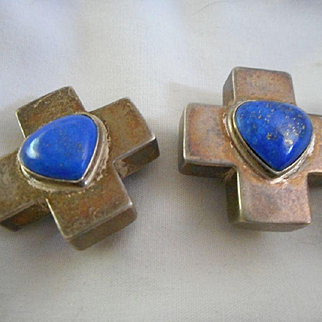 Sterling Silver Sodalite Heart Vintage Clip Earrings