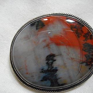 Sterling Silver Petrified Wood Pin