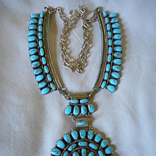 Sterling Turquoise Navajo Vintage Necklace
