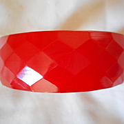 Bakelite Faceted Cherry Red Bracelet