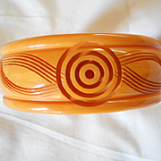 Carved Bakelite Bangle Bracelet