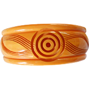 Carved Bakelite Bangle Bracelet - Red Tag Sale Item