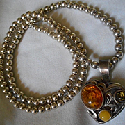 Sterling Silver & Amber Heart Vintage Necklace