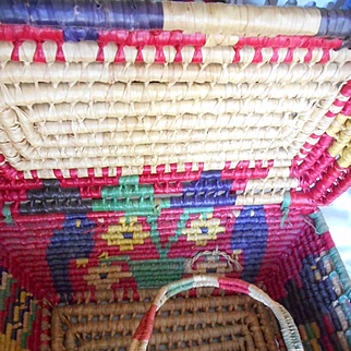 Woven Vintage Large Mexican Picnic Basket