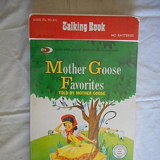 Phonograph Talking Vintage Book Mother Goose Favorites