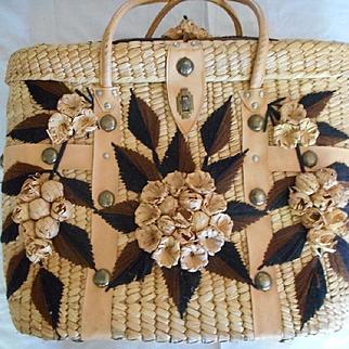 Mexican Woven Vintage Beach Basket