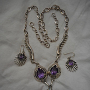 Sterling Silver Amethyst Necklace and Earrings