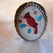 Sterling Silver Cardinal Inlay Vintage Ring