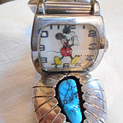 Sterling Silver Turquoise Watch Band With Mickey Mouse Watch