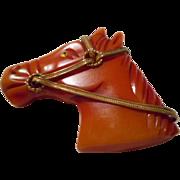 Bakelite Vintage Carved Horse Pin - Red Tag Sale Item
