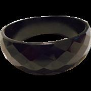 Bakelite Black Faceted Vintage Bracelet