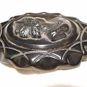 Bakelite Black Vintage Cameo Pin