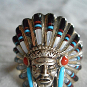 Sterling Silver Turquoise Coral Indian Head Ring