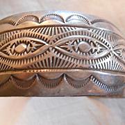 Sterling Silver Stamped Vintage Navajo Bracelet