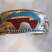 Sterling Silver Turquoise Coral Inlay Vintage Navajo Bracelet