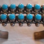 Sterling Silver Snake Eye Turquoise Vintage Bracelet
