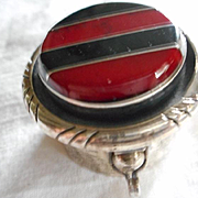 Sterling Silver Inlay Pill Box