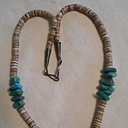 Sterling Silver Turquoise Heishi Vintage Necklace