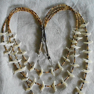 Sterling Silver Heishi Mother of Pearl Three Strand Vintage Necklace