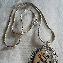 Sterling Silver Petrified Wood Vintage Pendant Necklace