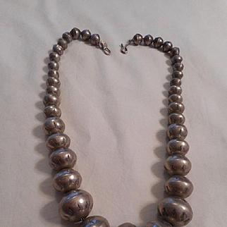 Navajo Sterling Silver Stamped Beaded Vintage Necklace