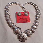 Sterling Silver Stamped Navajo Pillow Beaded Vintage Necklace