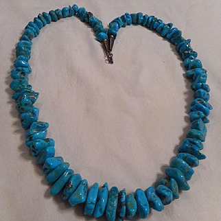 Sterling Silver Turquoise Nugget Vintage Necklace
