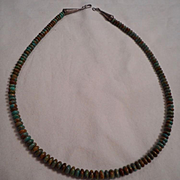 Sterling Silver Hand Carved Beaded Turquoise Vintage Necklace