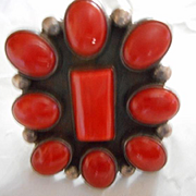 Sterling Silver Coral Native American Ring