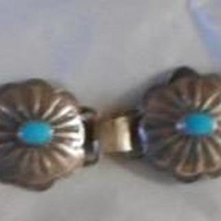 Sterling Silver Turquoise Vintage Concho Bracelet
