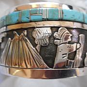 Sterling Silver Turquoise Navajo Storyteller Vintage Bracelet