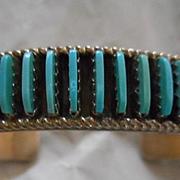 Sterling Silver Turquoise Needlepoint Zuni Vintage Bracelet