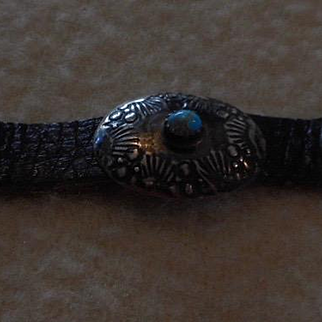 Sterling Turquoise Leather Conch Bracelet