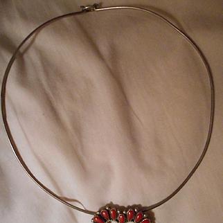 Sterling Coral Heart Collar Vintage Necklace