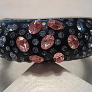 Rhinestone and Vintage Hard Plastic Hinged Bracelet
