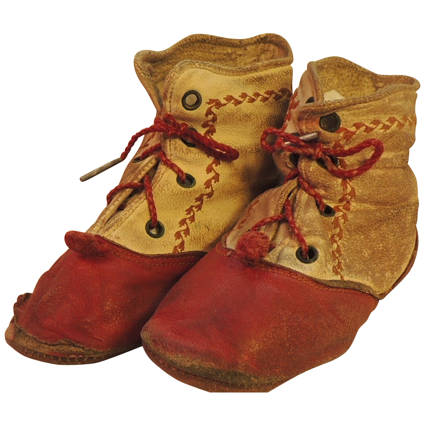 Antique Doll Boots, Red & White Leather Boots w Pom Poms