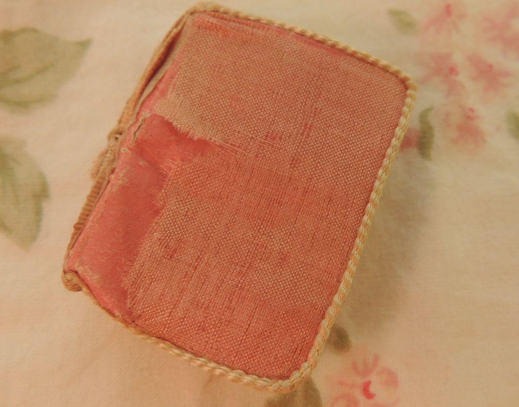 Antique French Fashion Doll Silk Needlecase, 1 5/8 x 1 1/8 IN