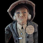Bernard Ravca Doll France Tags, Ca. 1939, Stockinette Doll All Original w Stick