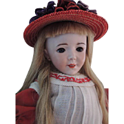SFBJ Rare Character Doll, 22 IN, Antique French Bisque Doll, Antique Clothes