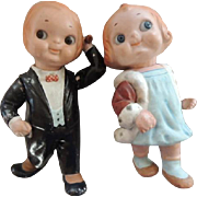 Dolly Dingle and Bobby Blake Pair, Grace Drayton Antique Composition Dolls,10 IN