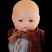 Recknagel #127 Antique German Bisque Doll, 9 IN, Boy Baby Doll, Sleep Eyes