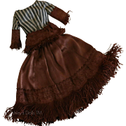 Vintage Silk Doll Gown, Two Piece Silk Doll Dress, for Antique French Fashion Doll Gown