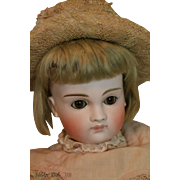 Antique Closed Mouth Kestner, 19 IN, Pouty, Antique German Bisque Doll