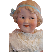Heubach Coquette Doll Mold 7768, 16 IN Antique German Bisque Doll, Molded Bow