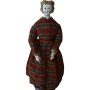 "Antique Parian Doll w French Body by Pannier, 16"" Elaborate Hairdo, Cafe Au Lait"