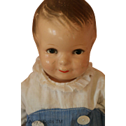Antique Grace Corry Rockwell Little Brother Doll, 14 IN, Original Playsuit 1920s